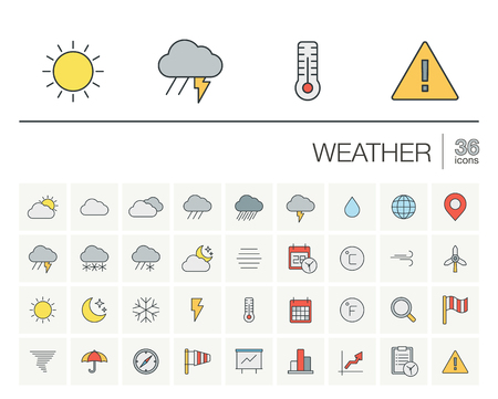 meteo: thin line icons set and graphic design elements. Illustration with meteo outline symbols. Weather cast, cloud, rain, snow, moon, thermometer, umbrella flat linear pictogram