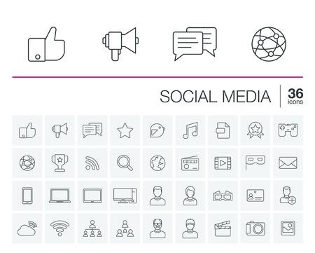 iconos de líneas finas establecidos y elementos de diseño gráfico. Ilustración con los medios sociales y la tecnología digital de símbolos de esquema. Al igual que, bocadillo, avatar, ordenador, tela, pictograma lineal móvil Ilustración de vector