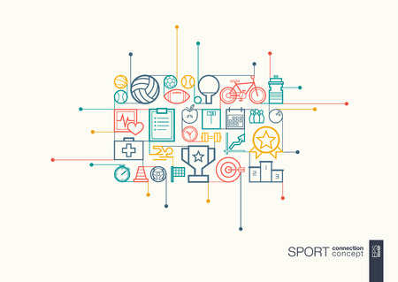connects: Sport integrated thin line symbols. Modern linear style concept, with connected flat design icons. Abstract background illustration for training, tennis, bicycle, soccer, rugby, fitness concept