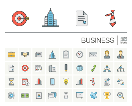 marketing research: Vector thin line icons set and graphic design elements. Illustration with business and management outline symbols. Marketing research, strategy, service, career, mission, analytic linear pictogram