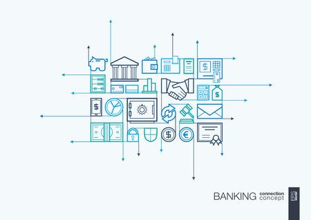 Banca integrado símbolos de la forma. flechas de movimiento concepto, con los iconos de diseño de planos conectados. Resumen ilustración de fondo de la red, dinero, tarjetas, bancos, negocios, conceptos de finanzas