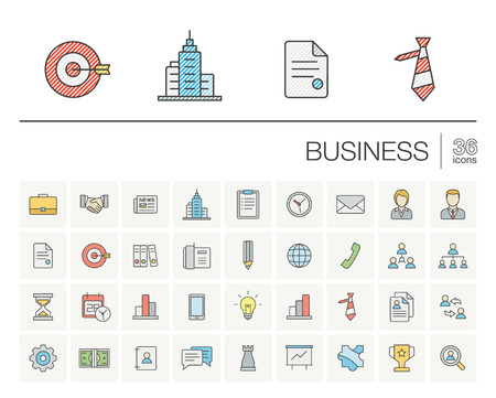 marketing research: Vector thin line icons set and graphic design elements. Illustration with business and management outline symbols. Marketing research, strategy, service, career, mission, analytics color pictogram Illustration