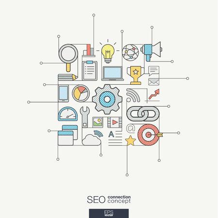 examen de la vista: SEO integrado símbolos de la forma. Concepto moderno del vector del color, con los iconos de diseño de planos conectados. Resumen ilustración de fondo de la red digital, la analítica, los medios sociales y el concepto de mercado