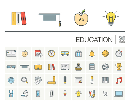 online education: thin line icons set and graphic design elements. Illustration with education, online learning, think outline symbols. Book, microscope, calculator, pen, elearning, teacher linear pictogram Illustration