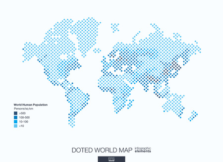 Useful info graphic template. Set of graphic design elements: choropleth world map. World human population info. Doted illustration. Vettoriali