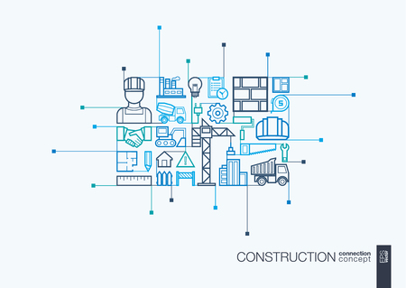 architectural design: Construction integrated thin line symbols. Modern linear style concept, with connected flat design icon. Abstract background illustration for build, industry, architectural, engineering concept Illustration