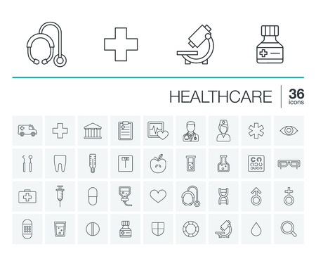 thin line icons set and graphic design elements. Illustration with medical, medicine and healthcare outline symbols. Dentist, health, ambulance, care, doctor, pills, cross rounded pictograms Vettoriali