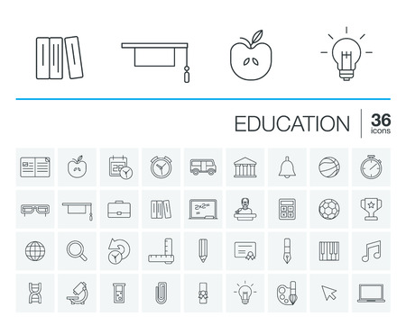 thin line icons set and graphic design elements. Illustration with education, online learning, think outline symbols. Book, microscope, calculator, pen, elearning, teacher rounded pictogram