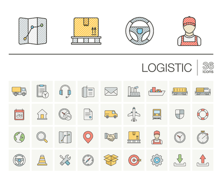 color distribution: thin line icons set and graphic design elements. Illustration with Logistic, delivery business, distribution outline symbols. Service, export, shipping, transport color pictogram
