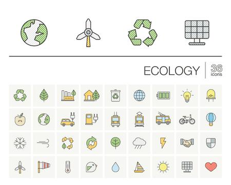 iconos de líneas finas establecidos y elementos de diseño gráfico. Ilustración con símbolos de esquema ecología. Eco, bio, ambiental, alternativa, recicle, el color de la energía eólica pictograma. Ilustración de vector
