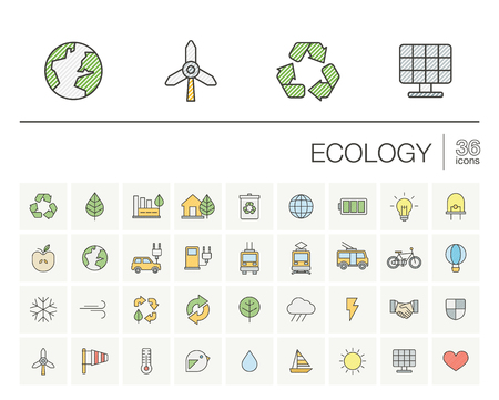 thin line icons set and graphic design elements. Illustration with ecology outline symbols. Eco, bio, environmental, alternative, recycle, wind power color pictogram.
