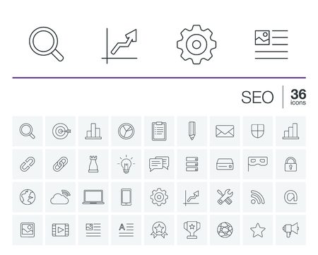 hits: thin line rounded icons set and graphic design elements. Illustration with SEO outline symbols. Digital network, analytics, social media and market linear pictogram