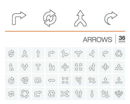 turn sign: thin line rounded icons set and graphic design elements. Illustration with arrows, direction and move outline symbols. Turn left, right, switch, undo linear pictogram