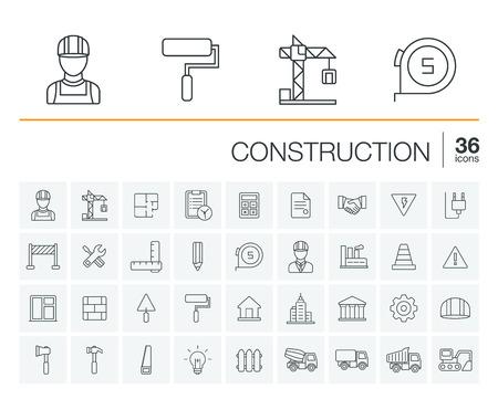 edificio industrial: Vector delgada línea redondeada conjunto de iconos y elementos de diseño gráfico. Ilustración con la construcción,,, símbolos del esquema de ingeniería de arquitectura industrial. herramientas de reparación de viviendas, trabajador, pictograma edificio