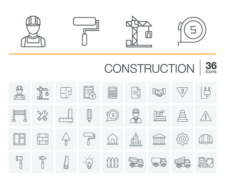 Vector thin line rounded icons set and graphic design elements. Illustration with construction, industrial, architectural, engineering outline symbols. Home repair tools, worker, building pictogram