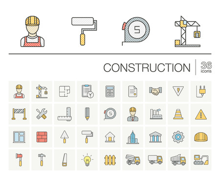 architectural design: Vector thin line icons set and graphic design elements. Illustration with construction, industrial, architectural, engineering outline symbols. Home repair tools, worker, building color pictogram