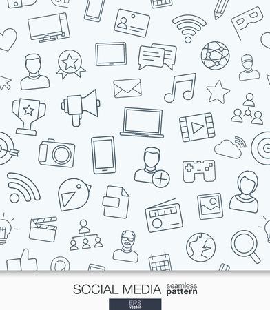 社会メディアの壁紙。ネットワーク通信のシームレス パターン。細い線の web アイコンを使用してテクスチャーをタイリングを設定します。ベクト