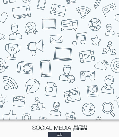 ocial Media wallpaper. Network communication seamless pattern. Tiling textures with thin line web icons set. Vector illustration. Abstract background for mobile app, website, presentation.