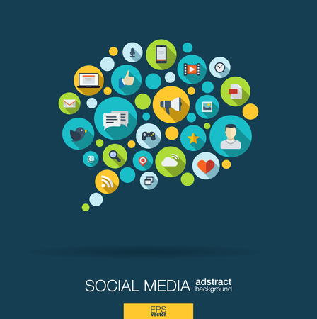 Color circles, flat icons in a speech bubble shape: technology, social media, network, computer concept. Abstract background with connected objects in integrated group of elements. Vector illustration Çizim
