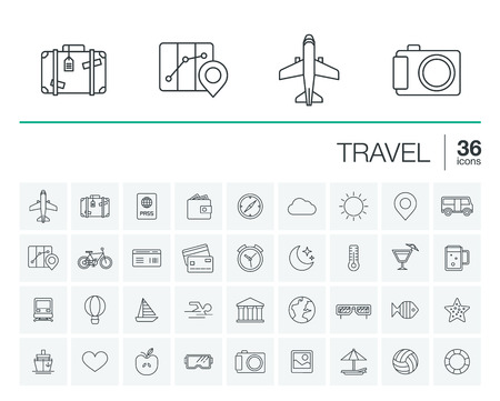thin line rounded icons set and graphic design elements. Illustration with travel, tourism outline symbols. Planning, summer, vacation, airplane, map, luggage, sunglasses linear pictogram