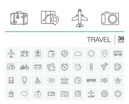 delgada línea redondeada conjunto de iconos y elementos de diseño gráfico. Ilustración con símbolos de viajes, turismo contorno. Planificación, verano, vacaciones, avión, mapa, maletas, gafas de sol pictograma lineal