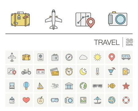 iconos de líneas finas establecidos y elementos de diseño gráfico. Ilustración con símbolos de viajes, turismo contorno. Planificación, verano, vacaciones, avión, mapa, maletas, gafas de sol de color pictograma