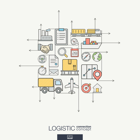 communicate concept: Logistic integrated thin line symbols. Modern color style concept, with connected flat design icons. Illustration for delivery, service, shipping, distribution, transport, communicate concepts