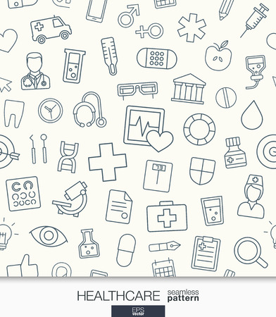 Healthcare wallpaper. Medical seamless pattern. Tiling textures with thin line web icons set. Abstract health care and medicine background for mobile app, website, presentation. Vettoriali