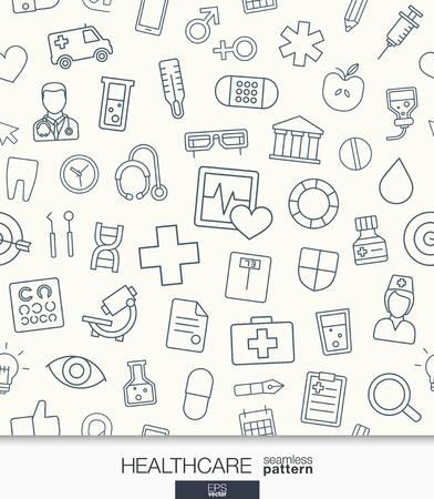 Gesundheitswesen Tapete. Medizinische nahtlose Muster. Tiling Texturen mit dünnen Linie Web-Icons gesetzt. Abstrakt Gesundheitswesen und Medizin Hintergrund für die mobile App, Website, Präsentation.