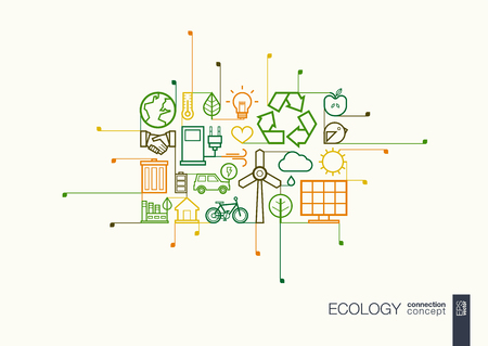 green building: Ecology integrated thin line symbols. Modern linear style concept, with connected flat design icons. Illustration for eco friendly, energy, environment, green, recycle, bio and global concepts. Illustration