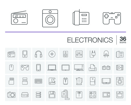multimedia pictogram: thin line icons set and graphic design elements. Illustration with electronics, multimedia and technology outline symbols. Music, film, phones, joystick, video, kitchen gadgets linear pictogram