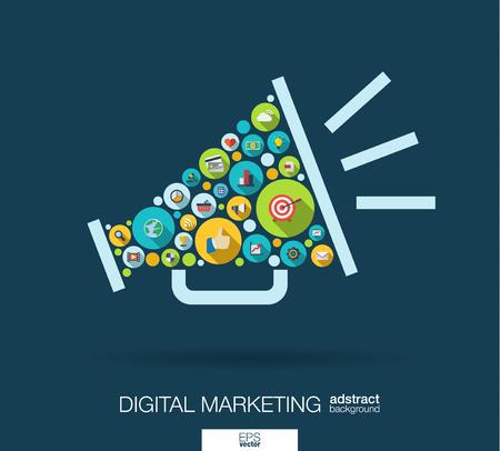 círculos de color, iconos planos en forma de altavoz: marketing digital, medios sociales, red, concepto de equipo. Resumen de fondo con objetos conectados en grupo integrado de elemento.