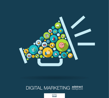 interaccion social: círculos de color, iconos planos en forma de altavoz: marketing digital, medios sociales, red, concepto de equipo. Resumen de fondo con objetos conectados en grupo integrado de elemento.