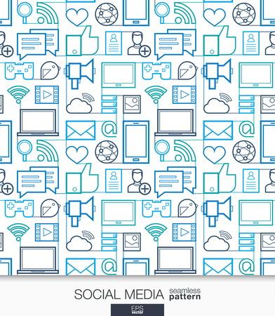 medios de comunicacion: fondos de escritorio medios de comunicación social. La comunicación en red sin fisuras patrón. Teja de texturas con los iconos de línea delgada alma integrados establecidos. Ilustración del vector. Resumen de antecedentes para la aplicación móvil, web, presentación Vectores