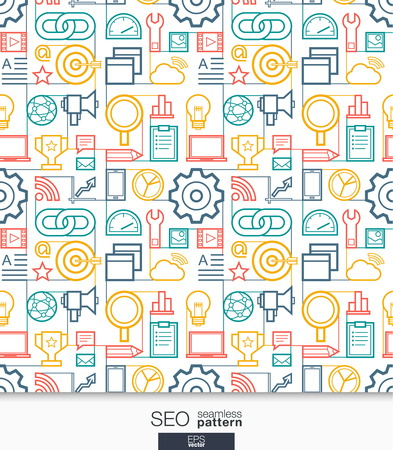 web background: SEO wallpaper. Marketing seamless pattern. Tiling textures with thin line integrated web icons set. Vector network market illustration. Abstract background for mobile app, website, presentation.