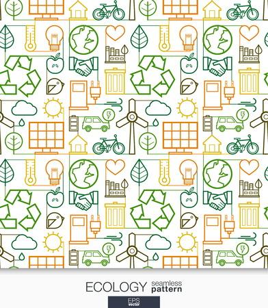 Ecology behang. Groene energie verbonden naadloos patroon. Betegelen texturen met dunne lijn geïntegreerde web iconen set. Vector illustratie. Abstracte achtergrond voor mobiele app, website, presentatie.