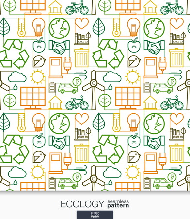 Ecology wallpaper. Green energy connected seamless pattern. Tiling textures with thin line integrated web icons set. Vector illustration. Abstract background for mobile app, website, presentation. Иллюстрация