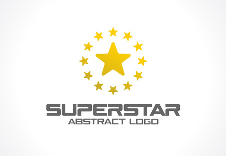 Abstract logo for business company. Corporate identity design element. Social Media, award, talent logotype idea. Gold superstar whith star group around, yellow polygon concept. Colorful Vector icon Illustration