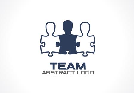 사업 회사에 대 한 추상적 인 로고. 기업의 정체성 디자인 요소입니다. 소셜 미디어, 네트워크 로고 아이디어. 사람들은 퍼즐 모양, 팀웍, 협력, 팀 개념