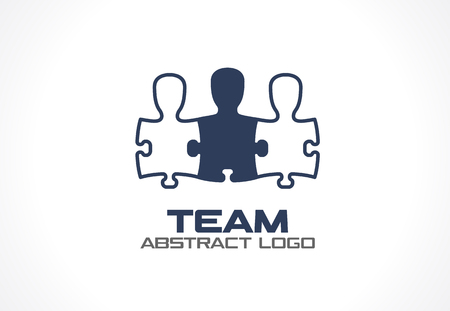 Abstract logo for business company. Corporate identity design element. Social Media, network Logotype idea. People connect in puzzle shape, teamwork, partnership, team concept. Colorful Vector icon
