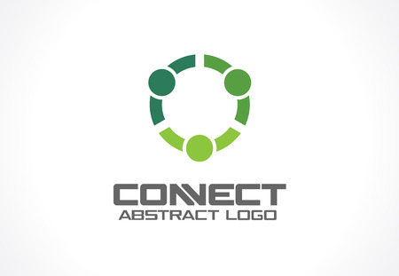 connects: Abstract logo for business company. Corporate identity design element. Technology, Social Media Logotype idea. People connect, Circle, segment, section, geometric concept. Colorful Vector icon