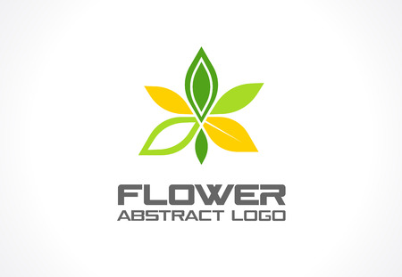 bionics: Abstract logo for business company. Corporate identity design element. Eco green, Healthcare, environment and recycle logotype idea. Flower, nature, yoga, spa, ecology concept. Colorful Vector icon