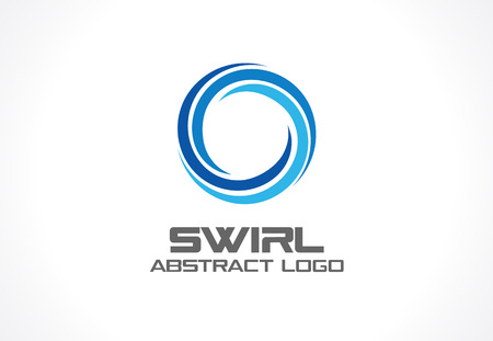 Abstract for business company. Corporate identity design element. Eco, nature, whirlpool, spa, aqua swirl idea. Water spiral, blue circle three segment mix concept. Colorful Vector icon Çizim