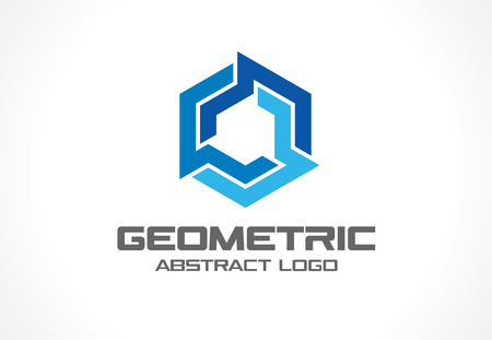 industry design: Abstract business company . Corporate identity design element. Industry, finance, bank idea. Hexagon group, network integrate, technology interaction concept. Color Vector connect icon