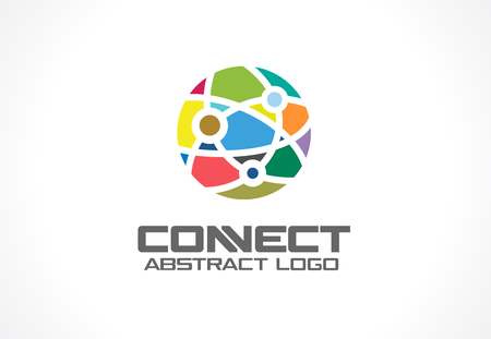 interaction: Network, social media and internet connect idea. World communication, interaction, integrate concept. Color Vector icon. Abstract business company. Corporate identity design element. Illustration
