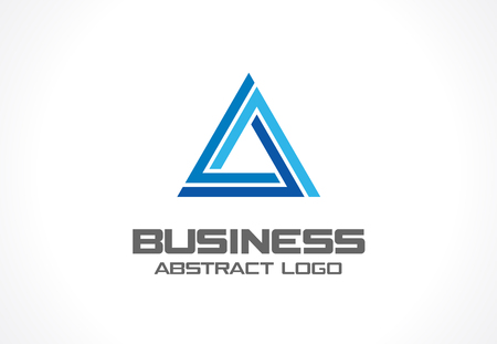 interaction: Abstract business company. Corporate identity design element. Industry, finance, bank idea. Triangle group, network integrate, technology interaction concept. Color Vector connect icon
