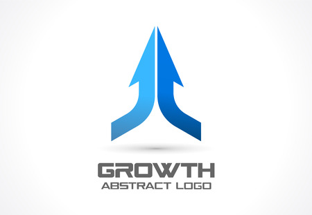 interaction: Abstract business company. Corporate identity design element. Technology, market idea. Connected arrow up, growth, progress integrate and success concept. Vector interaction icon Illustration