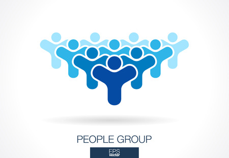 mobil: Abstract logo for business company. Corporate identity design element. Crowd, society, subscribers, followers and fan Logotype idea. People group, Network, Social Media concept. Colorful Vector icon