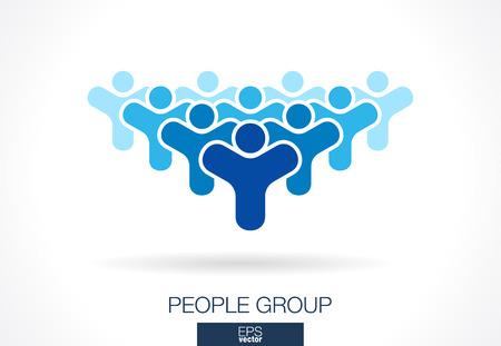 Abstracte logo voor zakelijke onderneming. Corporate identity design element. Menigte, de maatschappij, abonnees, aanhangers en ventilator Logotype idee. De mensen groeperen, Netwerk, Social Media concept. Kleurrijke Vector pictogram