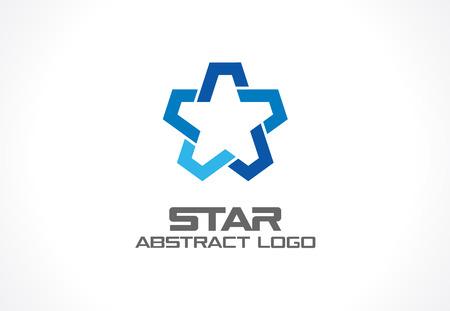 Logo astratto business aziendale. Corporate identity elemento di design. Industria, finanza, banca logotipo idea. gruppo Stella, rete integrare, concetto di interazione tecnologia. Vector colore connect icona